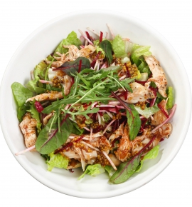 Salad with celery, beetroot and grilled chicken