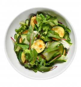 Green salad with zucchini and Teriyaki sauce