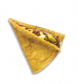 Crepe with minced beef and leek