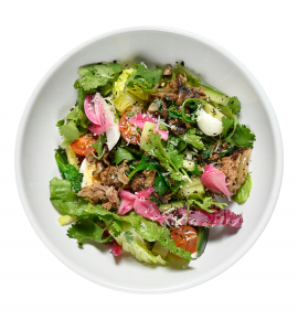 Greek salad with duck confit