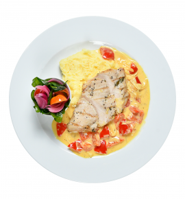chicken with French mustard and sweet pepper sauce