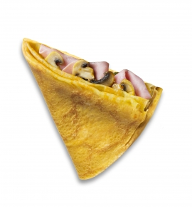 Crepe with cheese, ham and mushrooms
