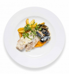Tilapia with mussel sauce